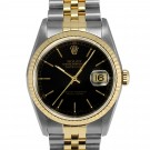 Mens Rolex Datejust Steel and Gold Black Stick Dial Fluted Bezel Jubilee Band