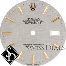 Men's Rolex Datejust Silver Linen Stick Marker Dial Two-Tone