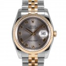 Mens Rolex Datejust Steel and Gold Slate Roman Numeral Dial Fluted Bezel Jubilee Band New Style