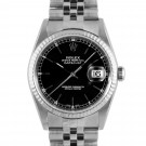 Men's  Rolex Datejust Stainless Steel Black Stick Dial Fluted Bezel Jubilee Band