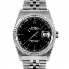 Men's  Rolex Datejust Stainless Steel Black Stick Dial Engine Turned Bezel Jubilee Band