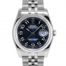 Mens Rolex Datejust Stainless Steel Blue Arabic Dial Fluted Bezel Jubilee Band New Style