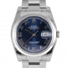 Mens Rolex Datejust Stainless Steel Blue Roman Dial Smooth Bezel Oyster Band New Style