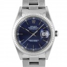 Men's  Rolex Datejust Stainless Steel Blue Stick Dial Fluted Bezel Oyster Band
