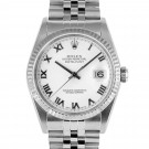 Men's  Rolex Datejust Stainless Steel White Roman Dial Fluted Bezel Jubilee Band