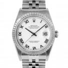 Men's  Rolex Datejust Stainless Steel White Roman Dial Engine Turned Bezel Jubilee Band