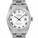 Men's  Rolex Datejust Stainless Steel White Roman Dial Engine Turned Bezel Oyster Band