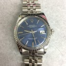 Mens Rolex Datejust Stainless Steel Blue Stick Dial WG Fluted Bezel Jubilee Band Vintage