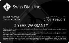 Swiss Dials Inc. Watch Warranty Card